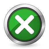 cancel green icon x sign