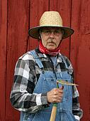 farmer portrait  with barn background