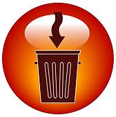 trash can button or icon with arrow