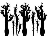 Silhouettes of cacti.