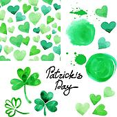 St. Patrick`s day watercolor illustration set. Collection of design elements isolated on white background. Vector illustration