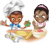 two children having fun in the kitchen