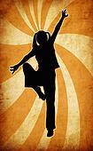 dynamic oriental silhouette on grunge ray background