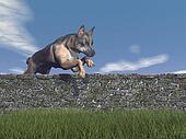 German shepherd dog jumping - 3D render
