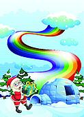 Santa Claus near the igloo and a rainbow in the sky