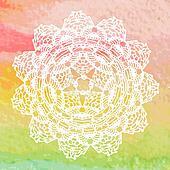 Elegant lacy doily. Crochet mandala.
