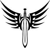 Winged sword tribal tattoo