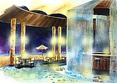 beach bar at night water color illustration.Water color resort by the beach illustration. Beautiful bar next to the sea