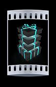 Gifts with ribbon on a white background. The film strip