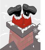 santa chimney illustration