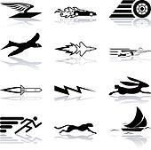 Conceptual icon set speedy and efficient
