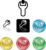 Spanner and nut icon symbol