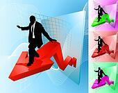 profit surfer business concept illustration