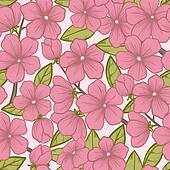 Seamless background with beautiful flowering tree branches, in beautiful pastel colors and graphic style sketch