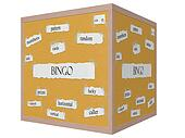 Bingo 3D cube Corkboard Word Concept