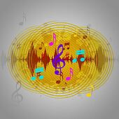 Yellow Music Background Means Discs Playing Or Tune