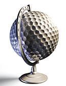 golf ball desktop globe conceptual image