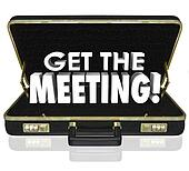 Get the Meeting Black Briefcase Words Client Customer Sales Call