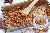 Homemade granola, muesli in a baking pan.