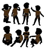 Male Infant Toddler Illustration Silhouette