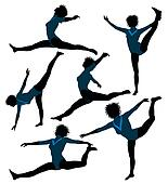Female African American Gymnast Illustration Silhouette