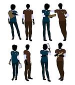 African American Female and Male Doctor Silhouette