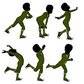 African American Victorian Ice Skating Boy Illustration Silhouette