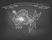 Card with hibiscus flower on chalkboard