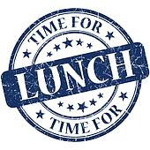 Time for lunch blue round grungy vintage isolated rubber stamp