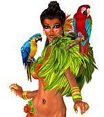 Parrots on sexy womans shoulders