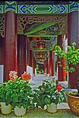 ornamental passageway of palace in lijiang, china, oil paint sty