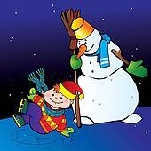Boy with snowman.