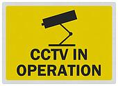 CCTV warning sign, photo realistic, isolated on white