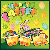 Train with flowers and easter eggs.