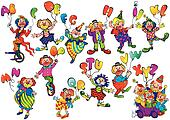 Clowns with balloons.