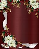 Christmas border flowers and ribbon