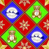 Christmas patern with teddy bear