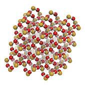 Quartz (a-quartz, SiO2) crystal structure.
