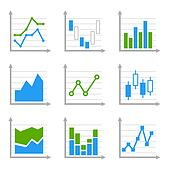 Business Infographic Colorful Charts and Diagrams. Blue ang Green Set 1