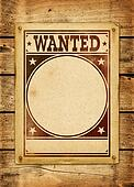 Wanted poster on a wood board