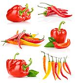 set red pepper fruits with green leaf