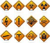 Glossy Diamond Hazard Stickers