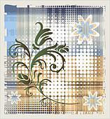 floral element over grange background