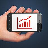 Business concept: Growth Graph on smartphone