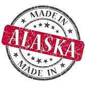 made in Alaska red round grunge isolated stamp