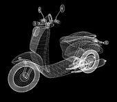 Vintage Retro Moped. 3d model