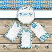 Oktoberfest Price Stickers Emblem Edelweiss Wood