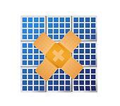 solar panel band aid fix solution concept