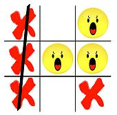 tic tac toe game with angry smiley face