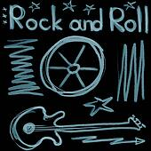 Rock and roll music word isolated